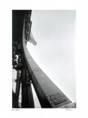 Miki Vuckovich: 9x12-inch black-and-white print - Eiffel Tower, Paris, France 1987