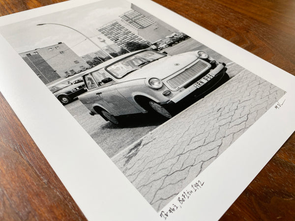 Miki Vuckovich: 9x12-inch black-and-white print -  Trabi, Berlin, Germany 1992