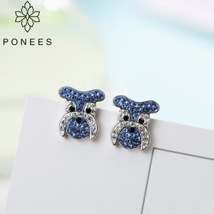 Schnauzer Rhinestone Stud Earrings