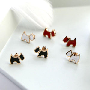 Cute Puppy Rhinestone Earrings