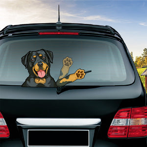 Removable Dog Waving Rear Wiper Sticker