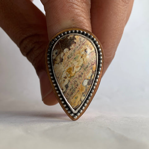 Tiger Skin Jasper Mixed Metals Ring