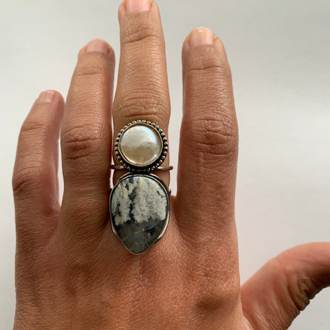 Pearl + Plume Agate Ring