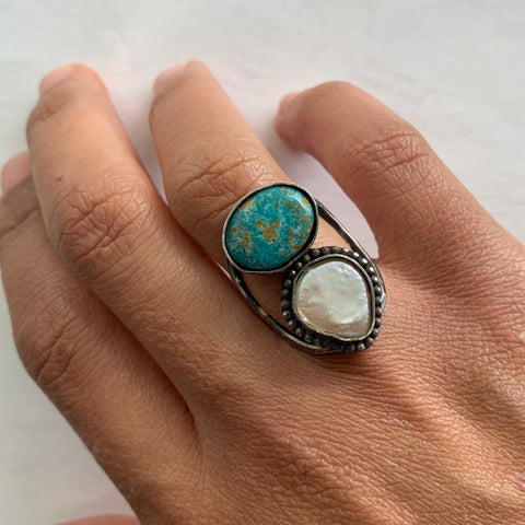 White Water Turquoise and Pearl Ring