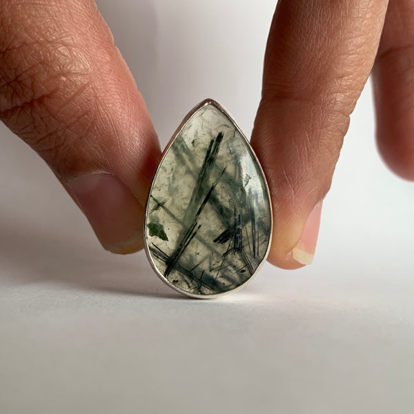 Rutilated Prehnite Ring