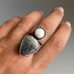 Native Silver + Pearl Ring