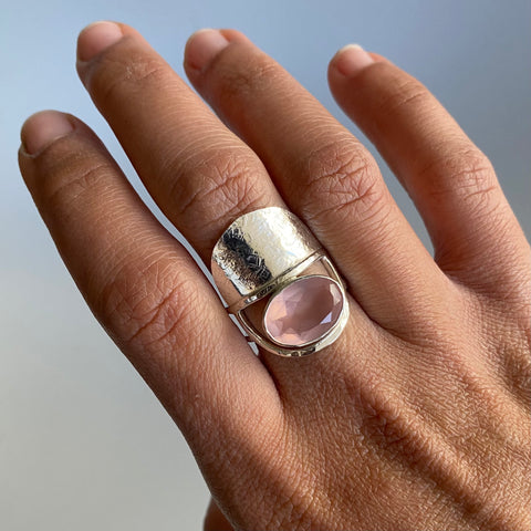 Rose Quartz Luna Ring