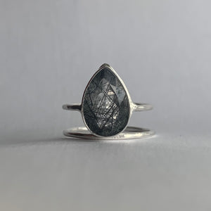 Black Rutilated Quartz Teardrop Ring