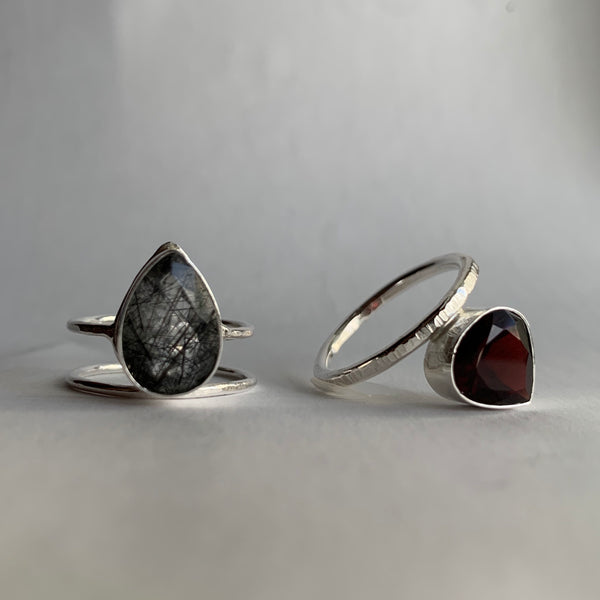 Offset Teardrop Garnet Ring