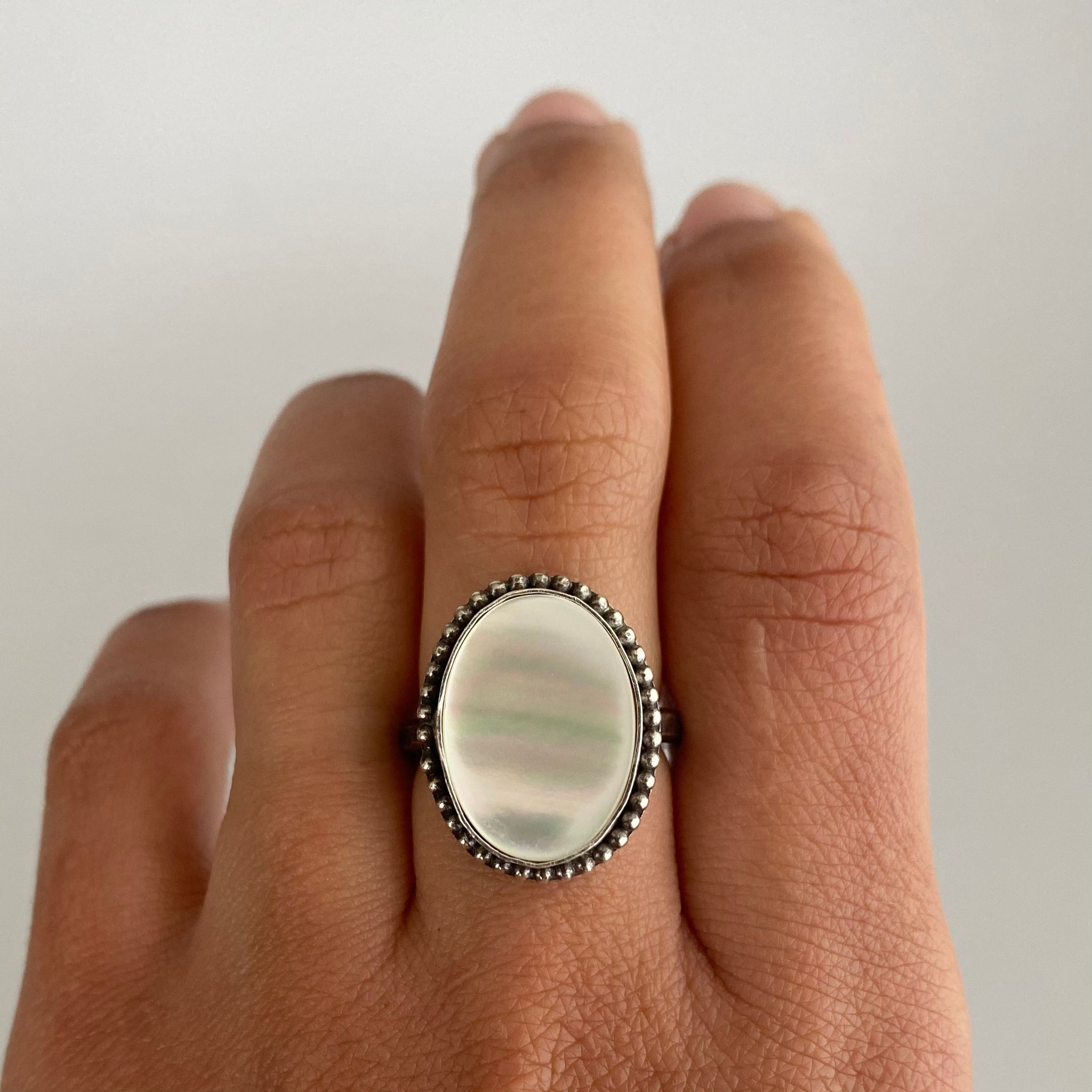 Mother of Pearl Ring with Beaded Detail #2