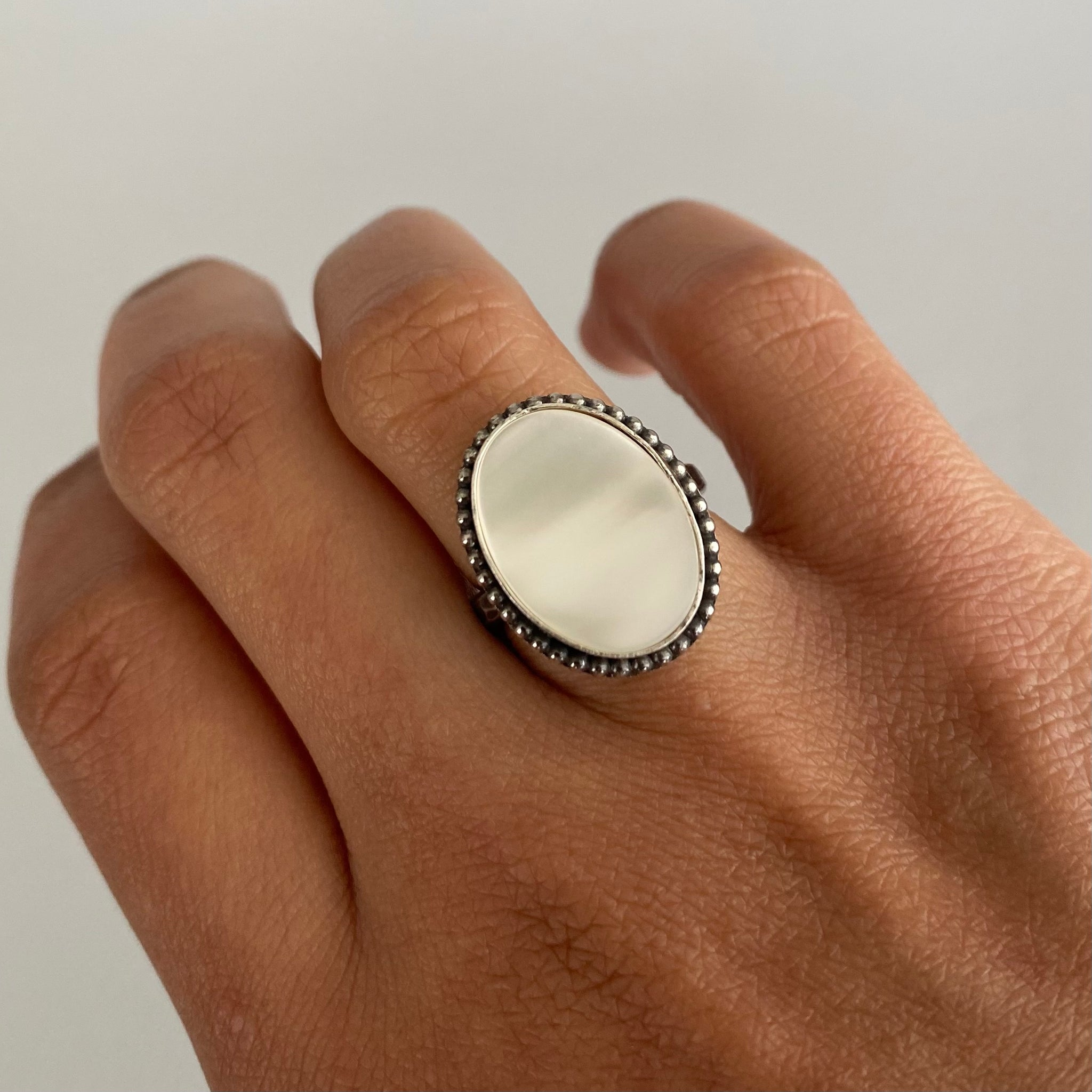 Mother of Pearl Ring with Beaded Detail #1