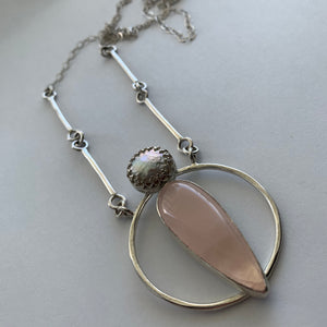 Pearl and Rose Quartz Full Moon Pendant