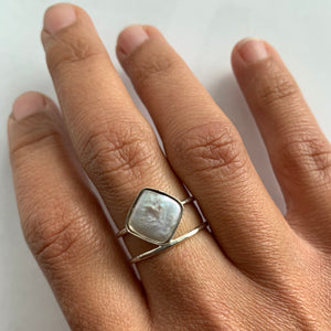 Cushion Shape Pearl Ring