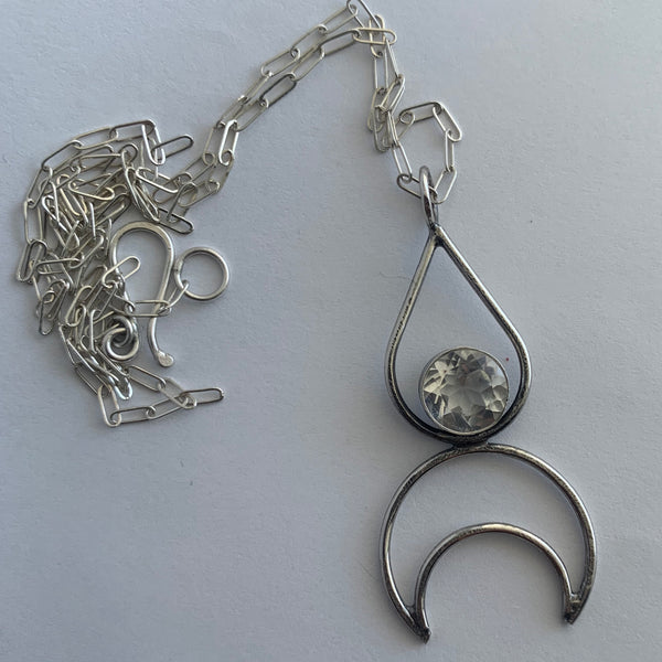 Teardrop + Crescent Moon Pendant