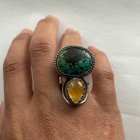 Hubei Turquoise and Citrine Ring
