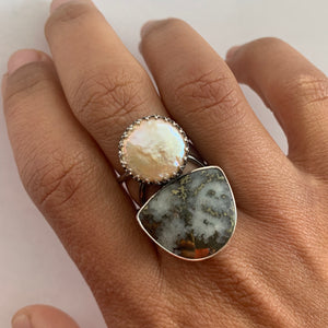 Mohawkite and Pearl Ring