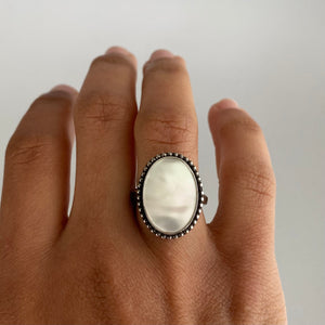 Mother of Pearl Ring with Beaded Detail #3