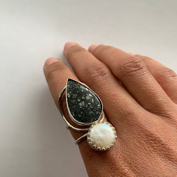 Pearl + Marcasite Ring