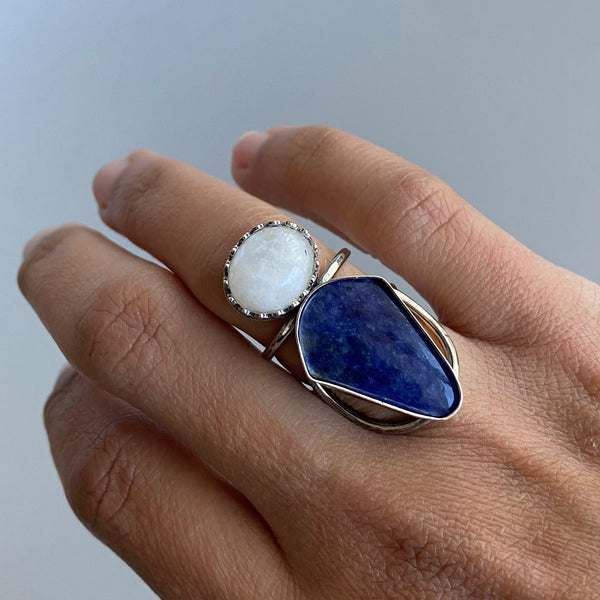 Moonstone + Sodalite Ring