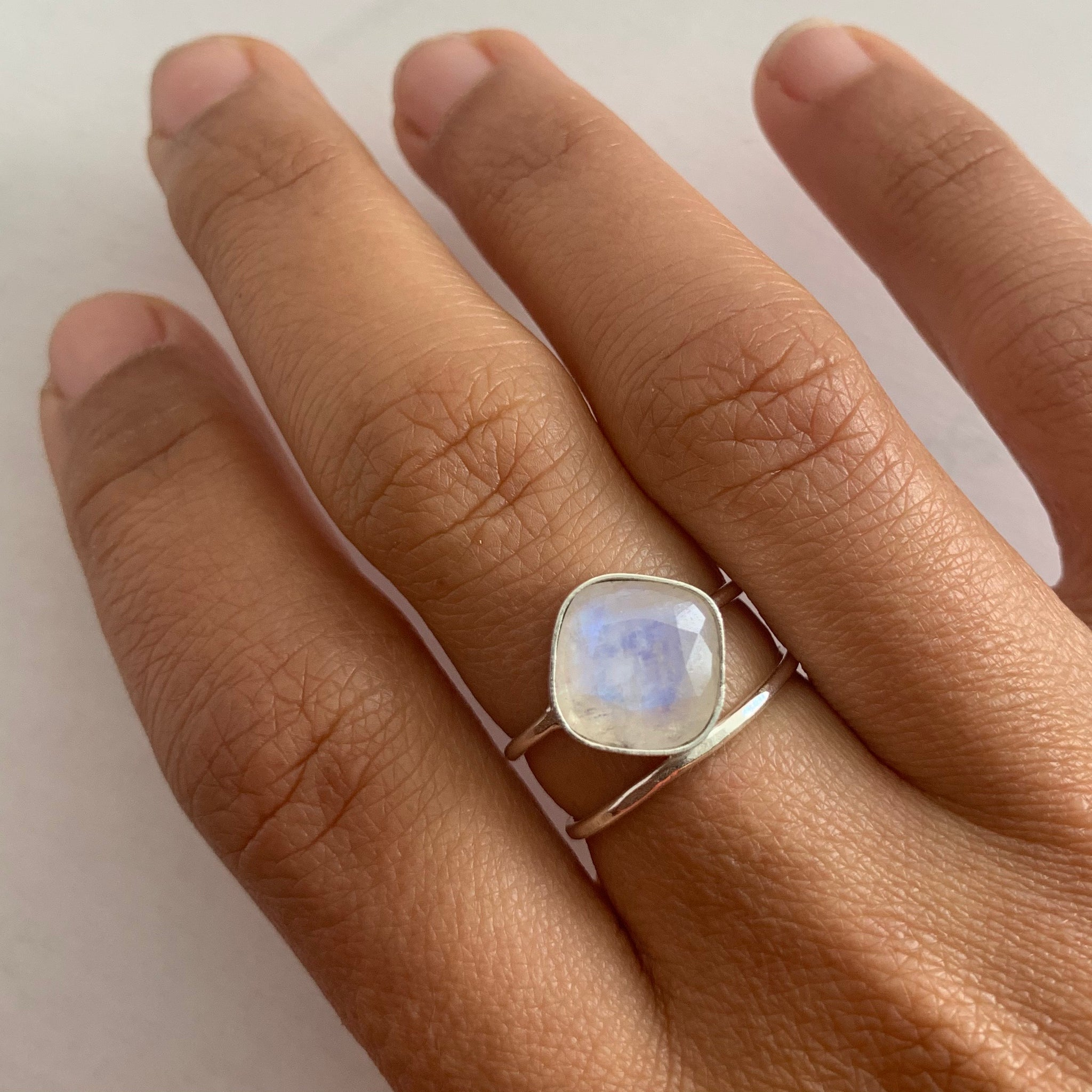 Blue Flash Moonstone Ring