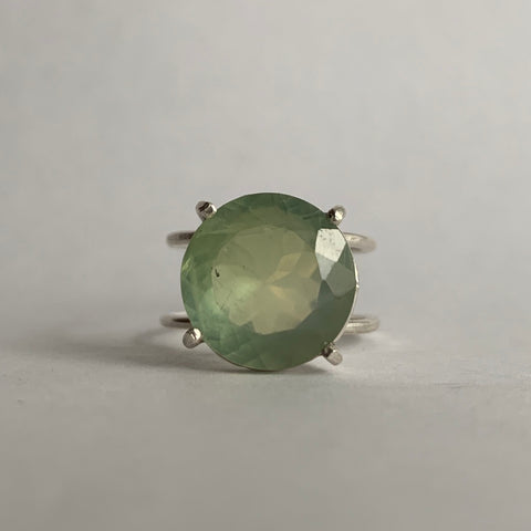 Prong Set Prehnite Ring