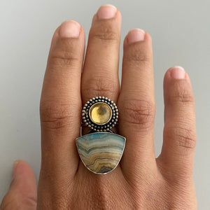 Yellow Citrine + Laguna Lace Agate Ring