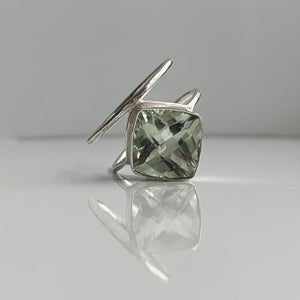 Cushion Cut Prasiolite Ring