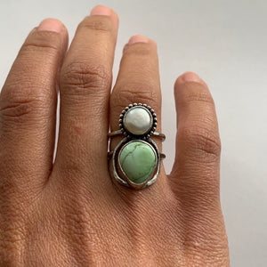 Pearl + Green Turquoise Ring