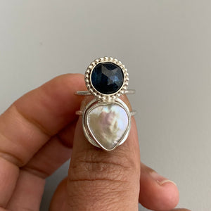 Teal Kyanite + Pearl Duet Ring