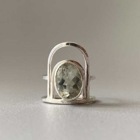 Green Amethyst Arch Ring