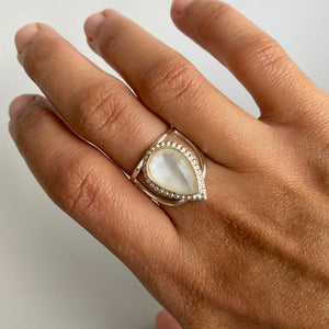 Mother Of Pearl + Rock Crystal Ring