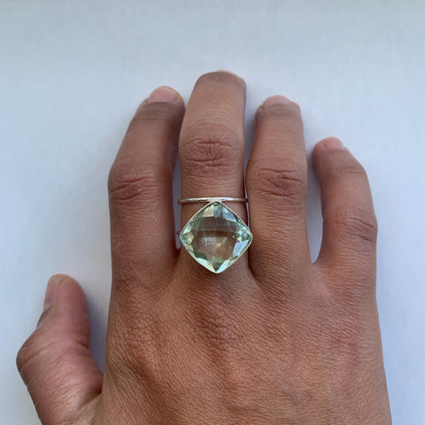 Green Amethyst Statement Ring