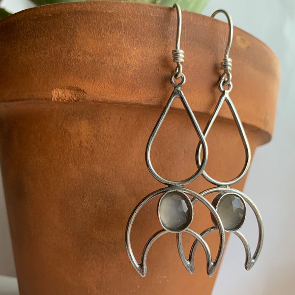 Teardrop + Crescent Moon Earrings