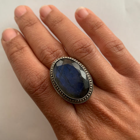 Blue For Labradorite Ring