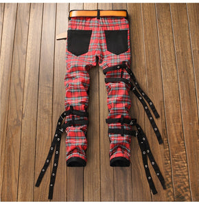 Scottish Red Plaid Goth Boi Denim - kantaloupe clothing