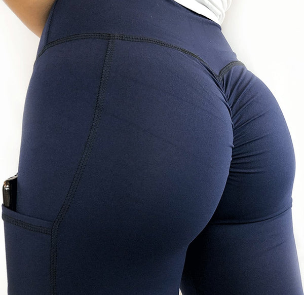 ABS2B - High Waist Pocket Leggings (Navy Blå)