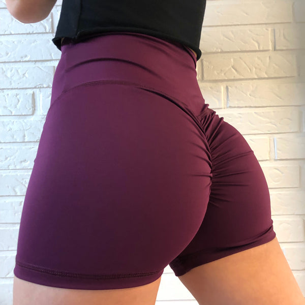 ABS2B - High Waist Scrunch Shorts (Eggplant)