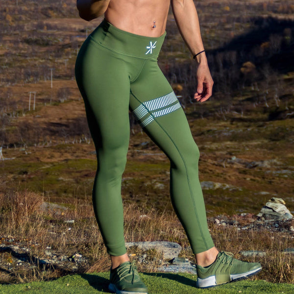 BARA - High Waist Signatur Leggings (Oliven)