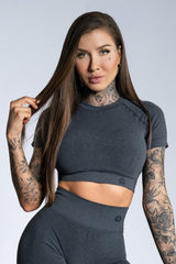 Gym Glamour - Amy Seamless Crop Top (Svart/Grå)