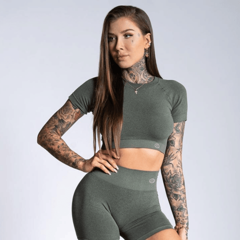 Gym Glamour - Amy Seamless Crop Top (Khaki)