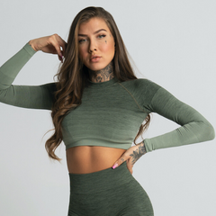 Gym Glamour - Ombre Crop Top (Khaki)