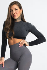 Gym Glamour - Eve Seamless Crop Top (Svart/Grå)