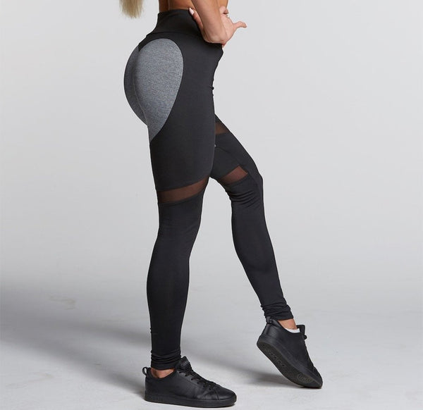 Gym Glamour - High Waist Heart Leggings (Svart/Grå)