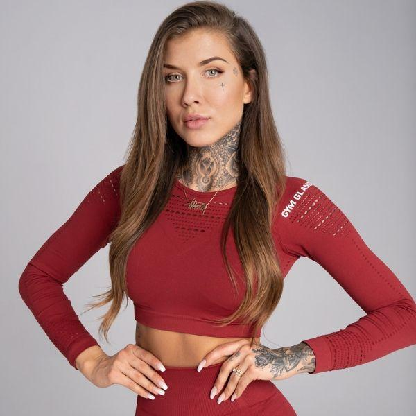 Gym Glamour - Alva Seamless Crop Top (Bordeaux)