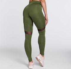 Gym Glamour - High Waist Heart Leggings (Khaki)