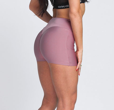 Gym Glamour - High Waist Shorts (Dirty Pink)