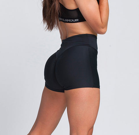 Gym Glamour - High Waist Shorts (Svart)