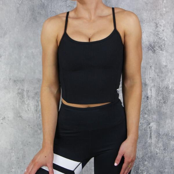 RapidWear - Open Back Crop Top (Svart)
