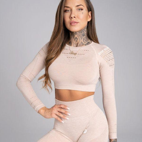 Gym Glamour - Alva Seamless Crop Top (Beige)