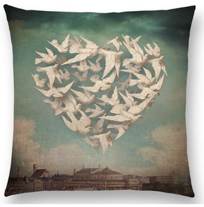 Cushion Cover- Dove Hearts